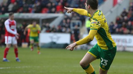 Kenny McLean acknowledges Teemu Pukki's assist, as Norwich City extend their Championship lead with