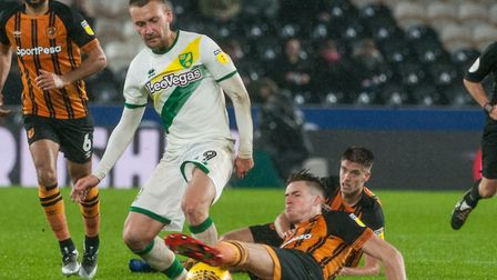 Tom Trybull had Norwich City's best chance in a 0-0 draw at Hull earlier this season Picture: Matt W