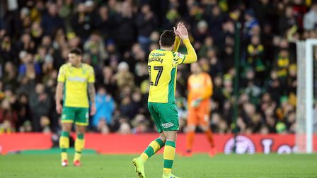 Emi Buendia takes the applause of the Carrow Road faithful after his match-winning performance again
