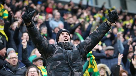 A loud and proud Norwich City fan sings his heart out at Rotherham. Picture: Paul Chesterton/Focus I