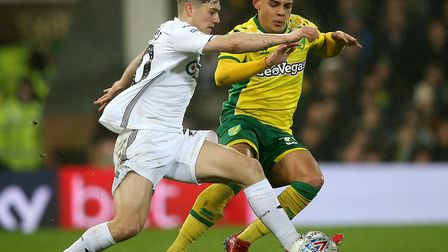 Max Aarons, right, needed all of his pace to deal with Swansea forward Dan James during Norwich City