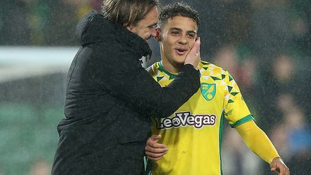 Head coach Daniel Farke, left, has shown great faith in Max Aarons during Norwich City's impressive