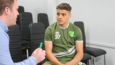 Norwich City full-back Max Aarons, right, spoke to Canaries correspondent David Freezer at Colney ah