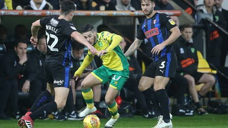 City's man of the moment, Emi Buendia, in action against Rotherham at Carrow Road in December Pictur