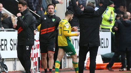 Daniel Farke leads the celebrations after Norwich City's 2-1 win at Rotherham United Picture: Paul C