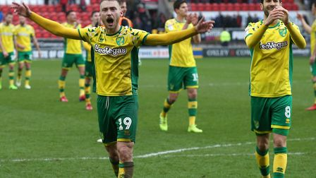 Tom Trybull and Mario Vrancic savour Norwich City's Championship win at Rotherham Picture: Paul Ches