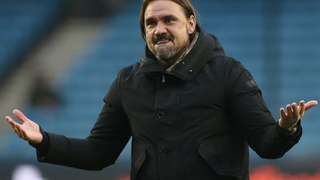 Daniel Farke savours the celebrations after Norwich City's 3-1 Championship win at Millwall Picture: