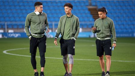 Norwich City's young stars, from left, Ben Godfrey, Jamal Lewis nd Max Aarons Picture: Paul Chestert