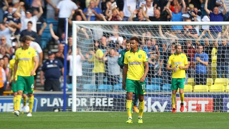 Norwich City players look dejected after conceding goal number four at The Den in August, 2017 Pictu