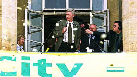 Nigel Worthington on the balcony of Norwich City Hall at the Civic reception to celebrate the Canari