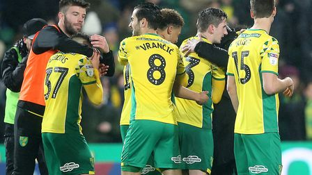 Norwich City celebrate full time in their Championship victory over Swansea at Carrow Road. Picture: