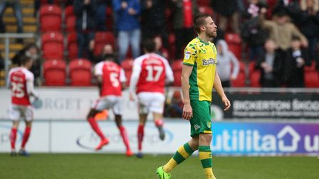 Norwich City forward Marco Stiepermann is left to digest Rotherham's equaliser - the hosts were leve