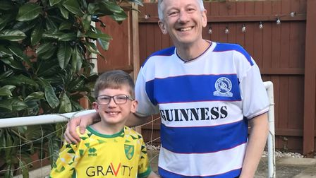 Norfolk-based QPR fan Ian Arnold, who celebrates his 50th birthday next week, and son Sam, who will
