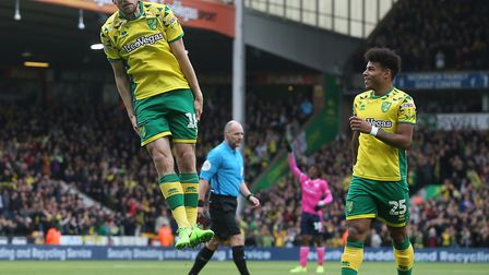 Marco Stiepermann celebrates in typically quirky style, as Norwich City thrash QPR at Carrow Road. P