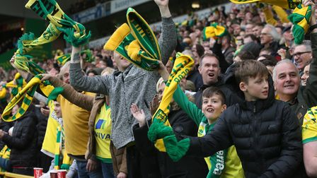 The Norwich City fans lap up their side's situation, after notching their 25th victory of the Champi