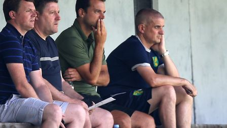 Norwich City sporting director Stuart Webber (centre) has instigated a stunning revival at Carrow Ro