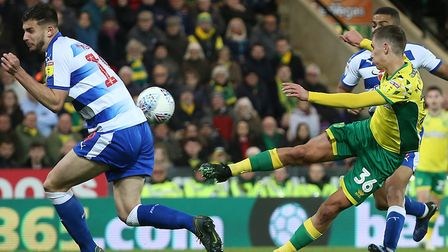 Todd Cantwell went close to a volleyed equaliser for Norwich City late in the first half during the