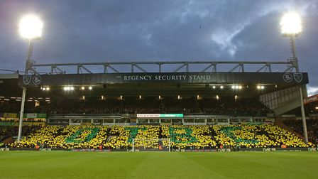 The River End display a mosaic before the Sky Bet Championship match at Carrow Road, NorwichPicture