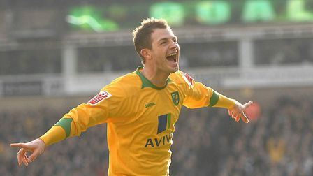 Jamie Cureton celebrates scoring for Norwich City during a 1-1 Championship draw with Burnley at Car