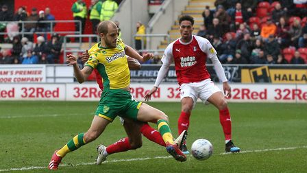 Teemu Pukki hard a work during the win at Rotherham Picture: Paul Chesterton/Focus Images Ltd