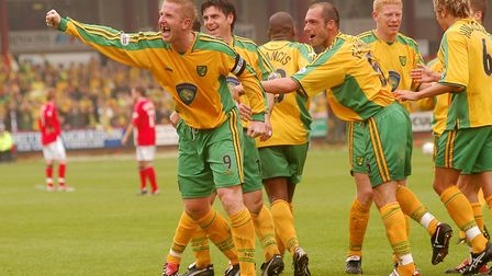 Iwan Roberts celebrates scoring at Crewe on the final day of the title-winning 2003-04 campaign Pict
