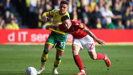 Nottingham Forest's Joe Lolley up against City full-back Max Aarons Picture: Paul Chesterton/Focus I