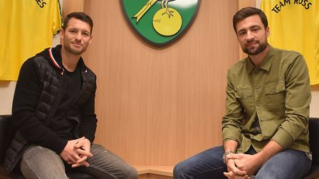 Russell Martin and Wes Hoolahan at Carrow Road as Norwich City Football Club announce their testimon