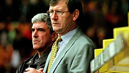 Bruce Rioch, front, and director of football Bryan Hamilton during his time in charge of Norwich Cit