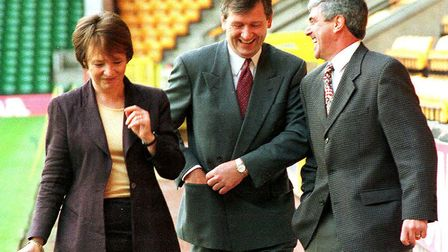 Joint majority shareholder Delia Smith at Carrow Road in 1998 with Bruce Rioch, centre, and Bryan Ha