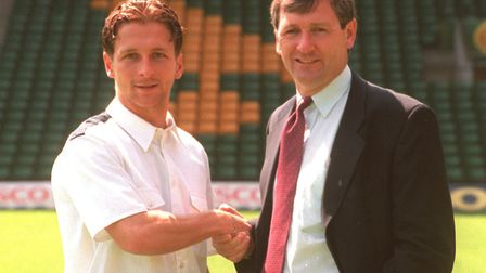 Norwich City manager Bruce Rioch and Darren Eadie at a press conference to announce a new contract f