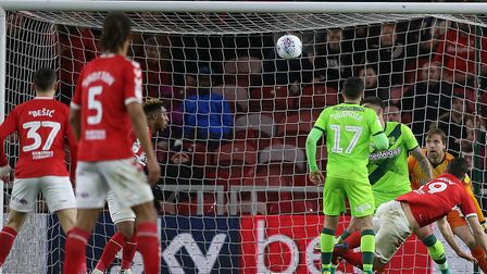Stewart Downing looked like he'd equalised for Boro in the 77th minute with a header Picture: Paul C