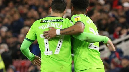 Onel Hernandez and Emi Buendia enjoy the moment after putting Norwich Ciity ahead at Middlesbrough -