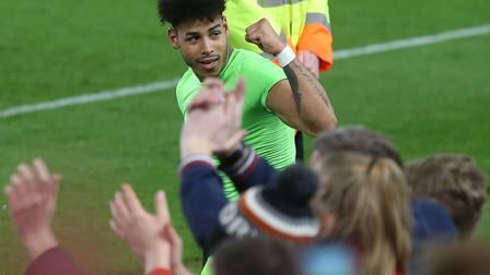 Onel Hernandez celebrates victory - earned by his second-half strike - as Norwich City extend their