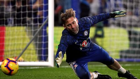 Chelsea keeper Robert Green warming up ahead of a Premier League game against Tottenham earlier this