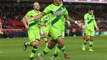 Onel Hernandez celebrates his winner in Norwich City's 1-0 Championship win at Middlesbrough Picture