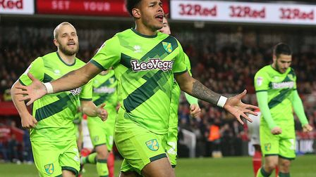 Onel Hernandez celebrates scoring the winner at Boro for City, to keep the Canaries flying high at t