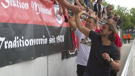 Lippstadt players and fans said farewell to Daniel Farke in 2015, in memorable style Picture: SV Lip