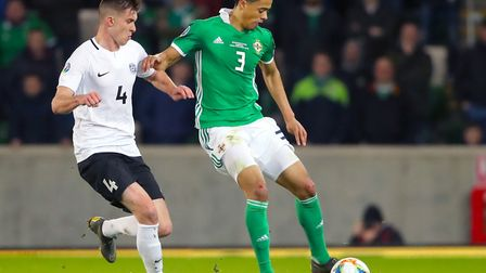 Norwich City left-back Jamal Lewis, right, played the full 90 minutes as Northern Ireland beat Eston