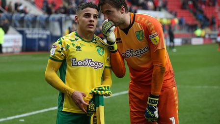 'Nice work with the laces, Max' - City keeper Tim Krul has some words with Max Aarons after the win