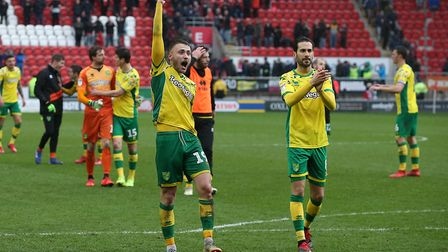 Tom Trybull and Mario Vrancic celebrate with the away fans at Rotherham Picture: Paul Chesterton/Foc