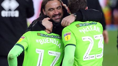 Daniel Farke hugs Emi Buendia and Kenny McLean after Norwich City's 1-0 Championship win at Middlesb