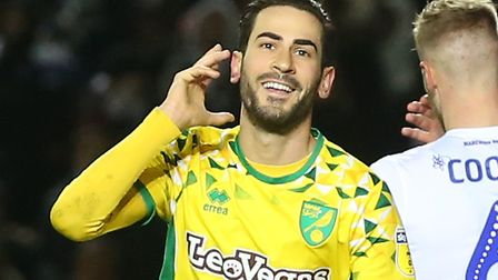 Mario Vrancic scored twice as Norwich City won 3-1 away to promotion rivals Leeds in February Pictur