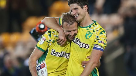 Jordan Rhodes, left, is congratulated by Timm Klose after his City brace against Villa Picture: Paul