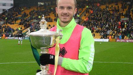 James Maddison lifted the Barry Butler Memorial Trophy after being voted Player of the Season by Nor