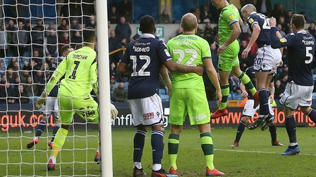 Christoph Zimmermann powers Norwich City back in front in a 3-1 win at Millwall Picture: Paul Cheste