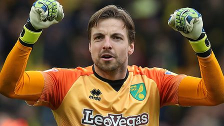 Tim Krul played his part in Norwich City's 4-0 Championship win against QPR Picture: Paul Chesterton