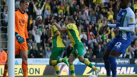 Mario Vrancic's late penalty was enough for Norwich to beat Wigan at Carrow Road in January Picture: