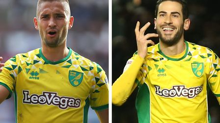 Moritz Leitner, left, and Mario Vrancic are pushing for a return to Norwich City's starting XI again