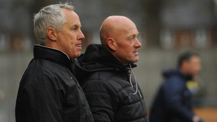 King's Lynn Town manager Ian Culverhouse, left, and assistant manager, Paul Bastock have their sight
