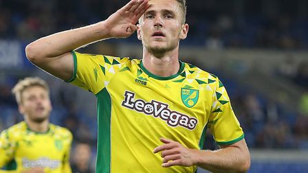 Dennis Srbeny scored a brace as Norwich won 3-1 at Premier League side Cardiff in the League Cup Pic